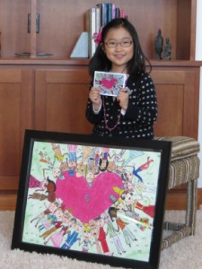 Seoyon Kim with new branch notecards and award-winning artwork.