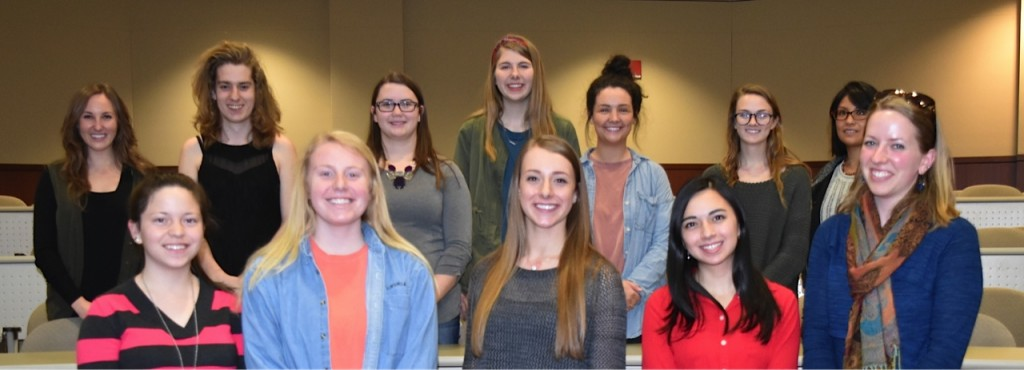 Front left: Cecilia Caceres, Anna Rackley, Tara Terwilliger, Siba Khojah, and Charissa Powell. Back left: Rebecca Youngblood, Taylor Stebbins, Reily Goyne, Corinne Stratton, Carly Wright, Anna Cook, and Glenda Leung.